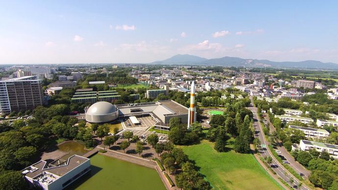 つくば市中心地区からエクスポセンター・筑波山方面の空撮写真