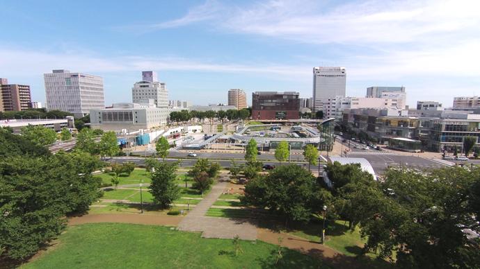 茨城県つくば市つくばセンター・エクスプラス駅付近空撮写真